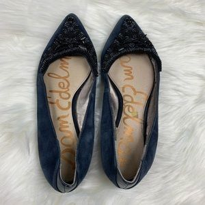 Sam Edelman Dark Blue Beaded Embellished Flats 6M